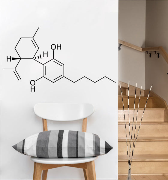 Cannabis Molecule Decal | Vinyl Wall Sticker