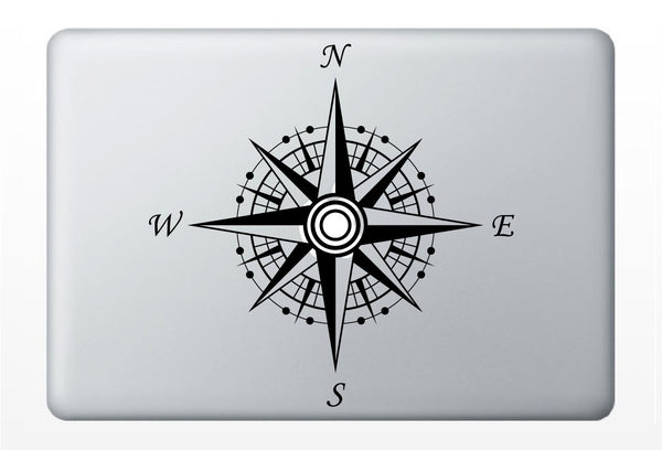 Compass laptop DECAL- nautical macbook iPad computer- ocean vinyl sticker sailing