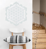 Flower of Life with Petals Decal | Sacred Geometry Vinyl Wall Sticker