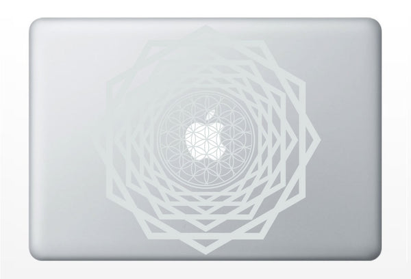 Flower of Life tunnel laptop DECAL- macbook iPad computer- vinyl sticker - Sacred Geometry - Rainbow Holographic