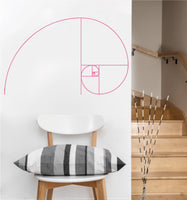 Fibonacci Spiral Decal | Sacred Geometry Vinyl Wall Sticker