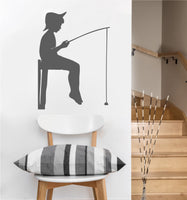 Boy Fishing Decal | Vinyl Wall Sticker