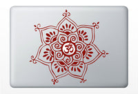 Om Delicate Flower laptop DECAL- macbook iPad computer- vinyl sticker - Sacred Geometry - Rainbow Holographic