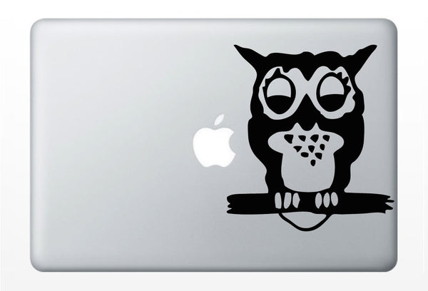 Owl with Apple moon DECAL- macbook iPad computer- animal bird vinyl sticker