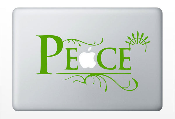 Peace laptop DECAL- macbook PC computer- sixties hippie groovy - vinyl sticker
