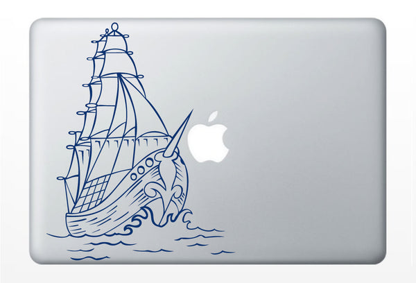 Pirate Ship DECAL- macbook iPad computer - vinyl sticker