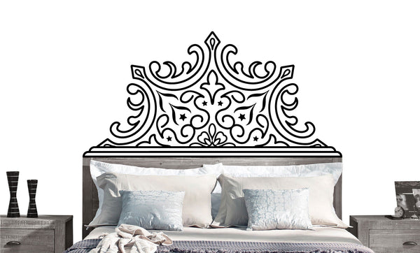 Pointed Luxe Headboard Decal- twin, double, full, queen, king- dorm room, bedroom sticker