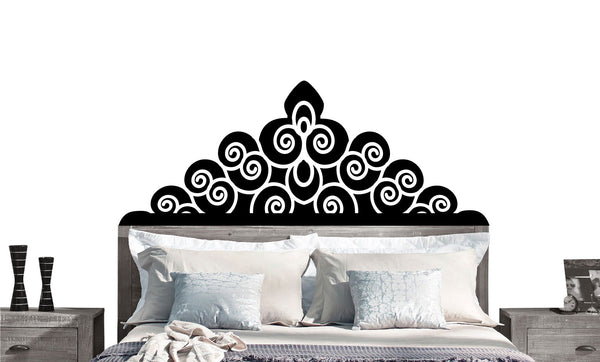 Regal Headboard Vinyl Wall DECAL- BED- Twin, Double, Full, Queen, King, dorm room, home decor
