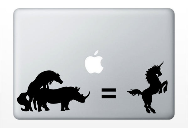 Unicorn Rhino DECAL- - macbook laptop computer- Gadget Art / Accessory - vinyl sticker
