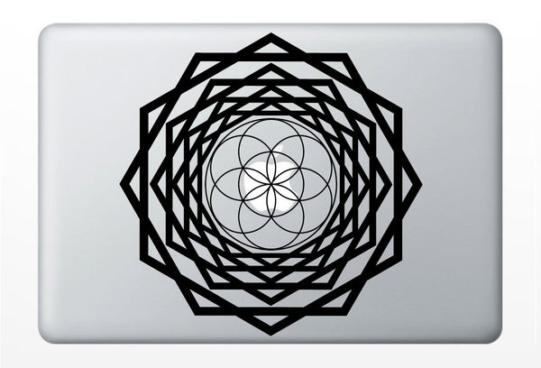 Seed of Life Tunnel laptop DECAL- vinyl sticker, macbook iPad computer- mandala, sacred geometry rainbow Holographic