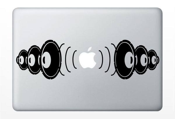 bass boom DJ Speakers music DECAL- macbook PC computer- vinyl sticker
