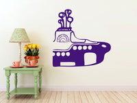 Yellow Submarine vinyl Wall DECAL- beatles 60s interior design, sticker art, room, home and business decor