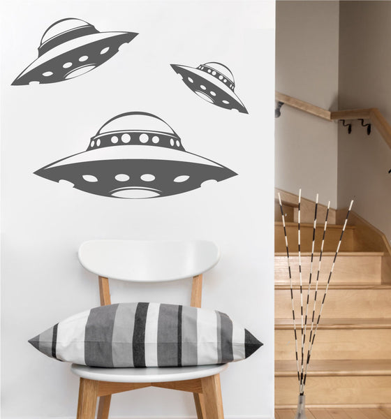 Alien Spaceship Decals | Set of 3 UFOs  | Vinyl Wall Stickers