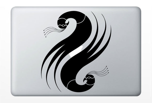 Yin Yang Birds DECAL- two double pheasant quail peacock- macbook iPad computer- Gadget Art / Accessory - Geek Chic perfect gift