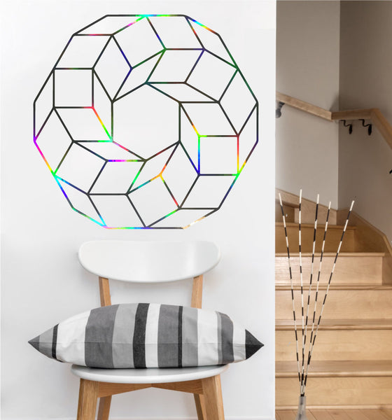 Cubed Ring Decal | Sacred Geometry Vinyl Wall Sticker
