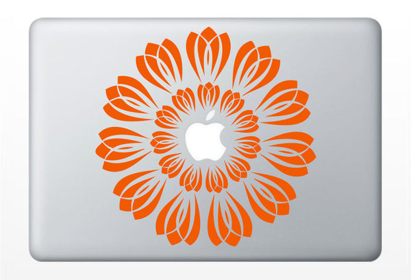 Flower Burst laptop DECAL- macbook iPad computer- radial vinyl sticker - symmetrical circle