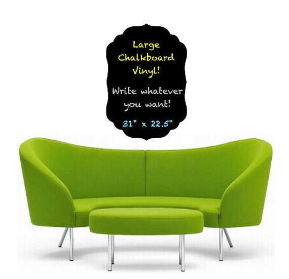 Large Chalkboard Vinyl Wall Decal - Fancy, Chalk