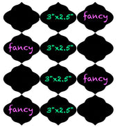 Fancy Chalkboard Vinyl Labels | 3 x 2.5 inch | Dishwasher Safe