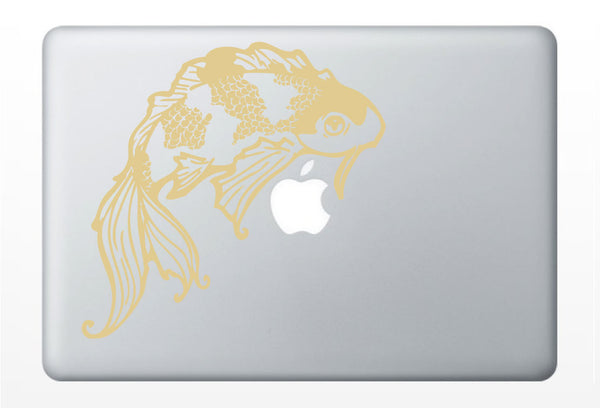 lucky Koi laptop DECAL- macbook PC computer- ocean goldfish animal - vinyl sticker