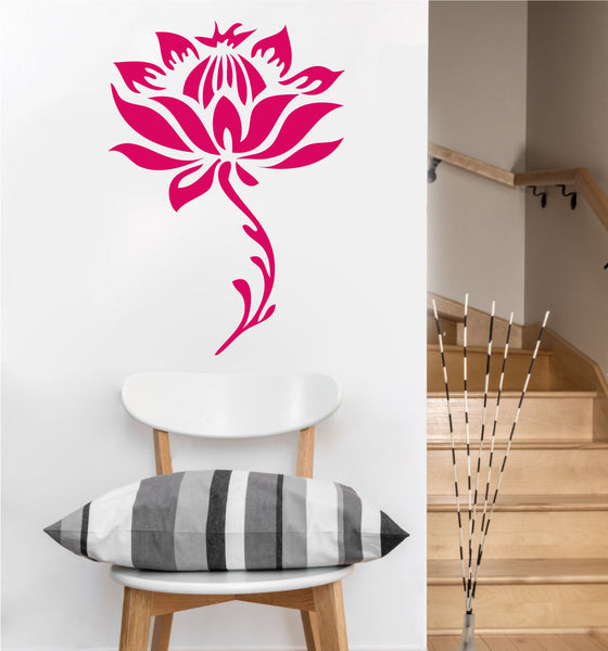 Stemmed Lotus Flower Decal | Vinyl Wall Sticker