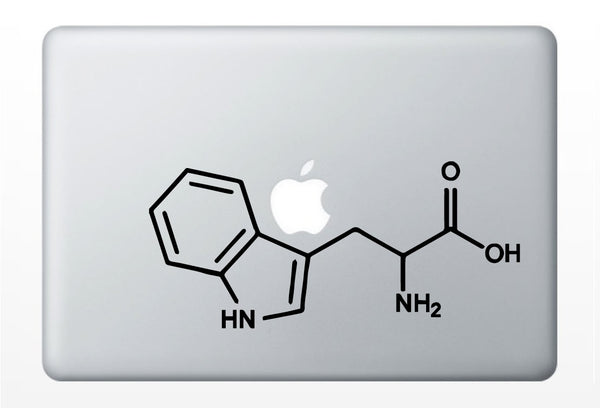 Triptophan Compound Molecule laptop DECALS- macbook iPad computer- chemical structure, turkey- vinyl sticker