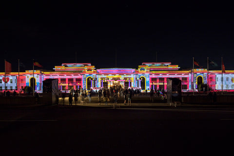 enlighten canberra udhr quilt project projection old parliament house moad