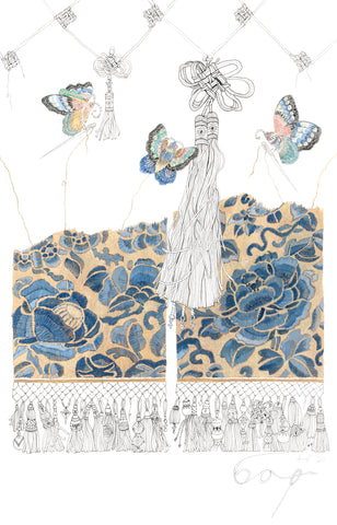 embroidery drawing commission gouache ink textile chinese satin stitch