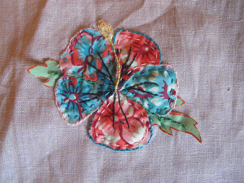 hibiscus flower embroidery and applique sugarfest city of sydney workshops