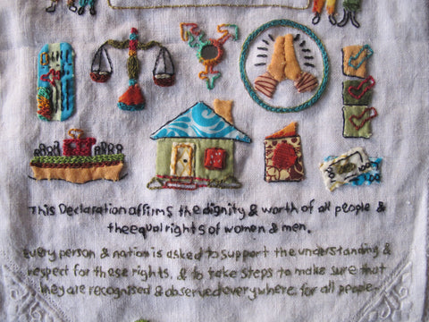 close up embroidery udhr sampler rebecca ray textile artist