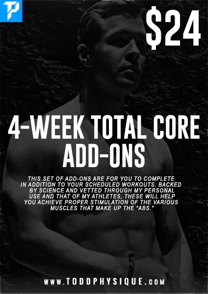 4-Week Total Core Add-Ons - ToddPhysique Coaching | TEAMFLEXAPPEAL Apparel