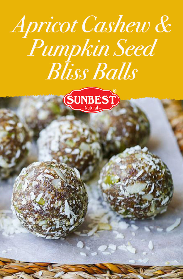 Apricot Cashew and  Pumpkin Seed Bliss Balls