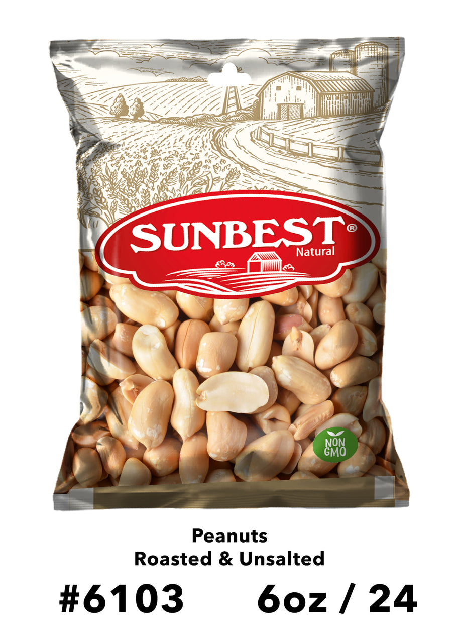 Item:6103 Peanuts Roasted Unsalted 6 oz in Bag with Hang Hole