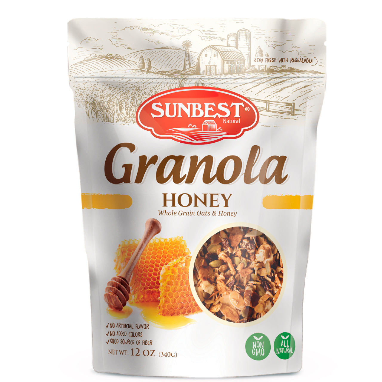 Sunbest Natural Honey Granola 12oz in Resealable Bag