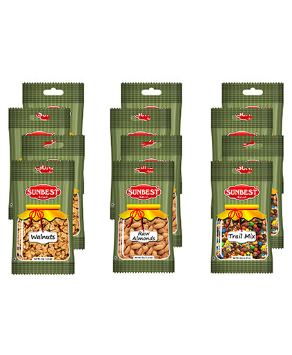 Grab&Go Variety Snack Pack- Trail Mix, Almonds and Walnuts  (Shelled,12 Count)