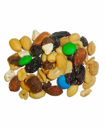 Trail Mix Fruits and Nuts (Raw Almonds, Raisins, Peanuts, and M&Ms)