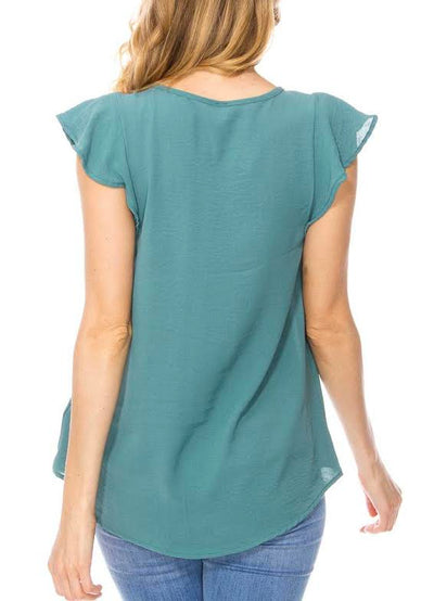 Ruffle Cap Sleeve Solid V-Neck Top
