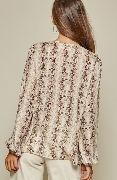 Snakeskin Print Blouse with embroidery Detail