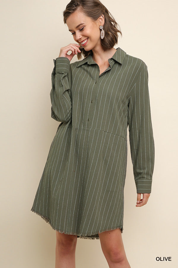Striped Long Sleeve Collared Button Up Shirt Dress