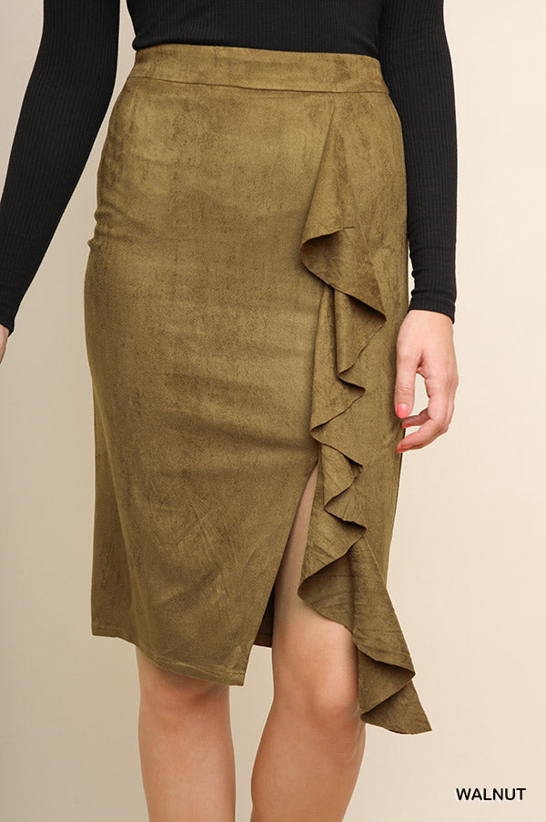 High Waisted Suede Midi Skirt with a Ruffled Front Slit and Zip Closure