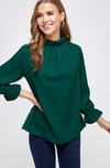 Solid Color Top with Ruffled Neckline and Sleeve