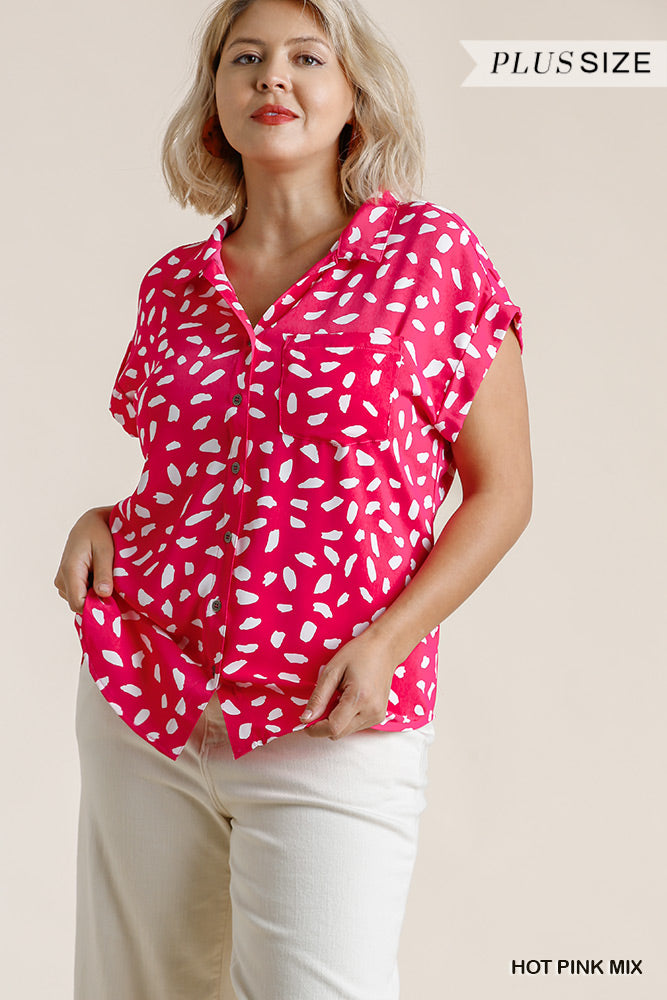Dalmatian Print Button Front Plus Top with Pocket Detail