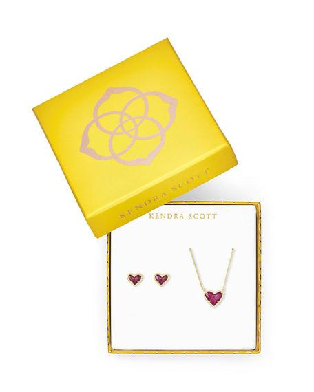 Ari Heart Necklace & Earrings Gift Set In Raspberry Labradorite