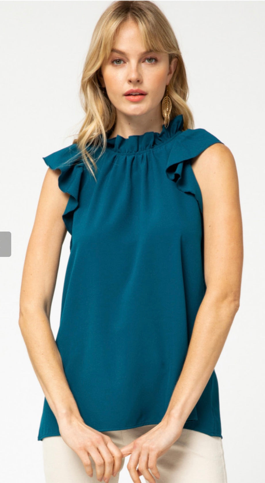 Mock Neck Top with Ruffle Sleeve