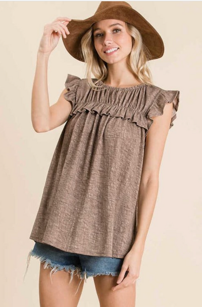 Knit Ruffle Sleeve Top