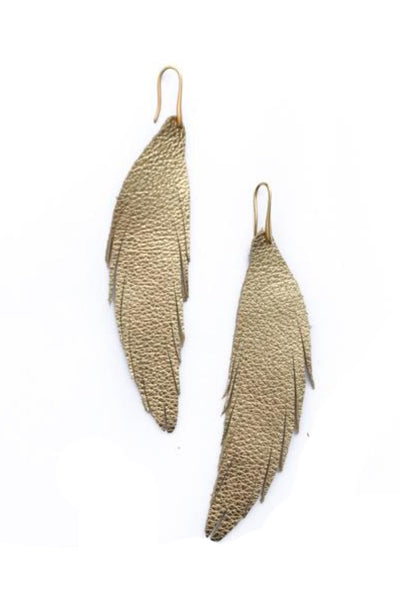 Short Feather Leather Earring