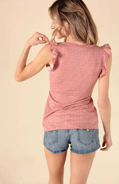 Dotted Ruffled Sleeves V-Neck Top