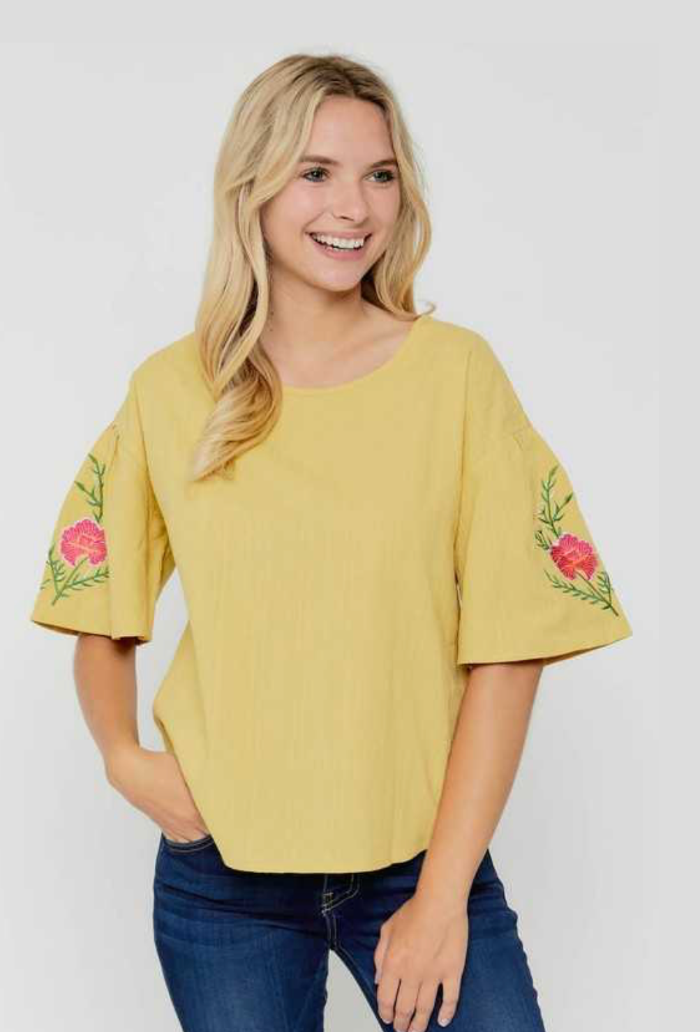 Embroidered Sleeve Cotton Top