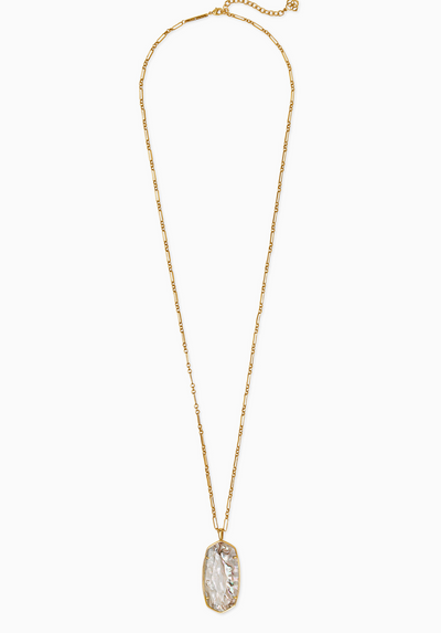 Faceted Reid Vintage Gold Long Pendant Necklace