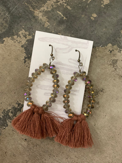 Pearls and Ponies Iridescent Tassel Earrings