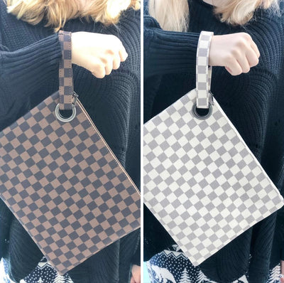 Checked Wristlet Bag